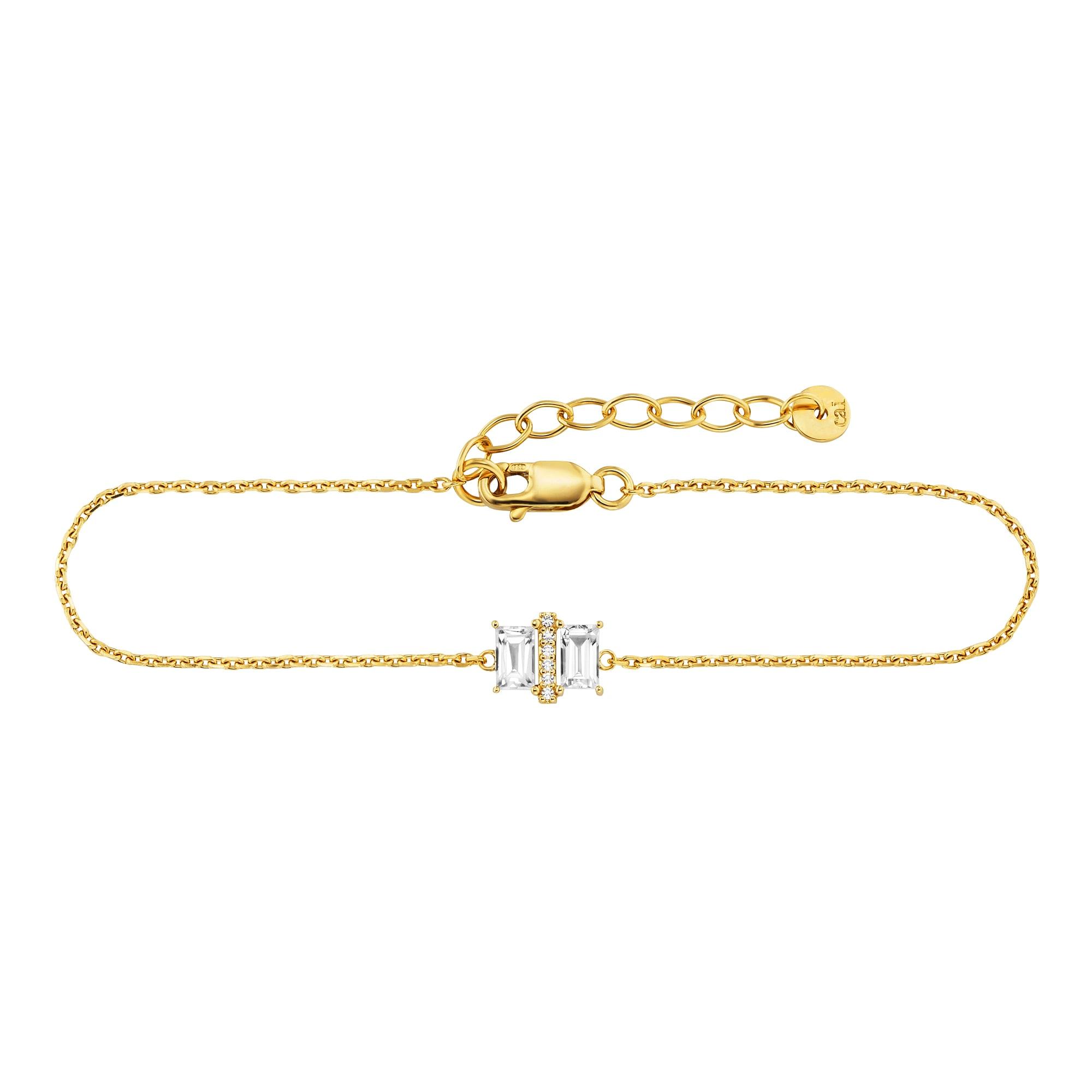 CAÏ Armband 925/- Sterling Silber vergoldet 20cm Weißtopas   Schmuck > Armbänder > Silberarmbänder   Gelb   Caï