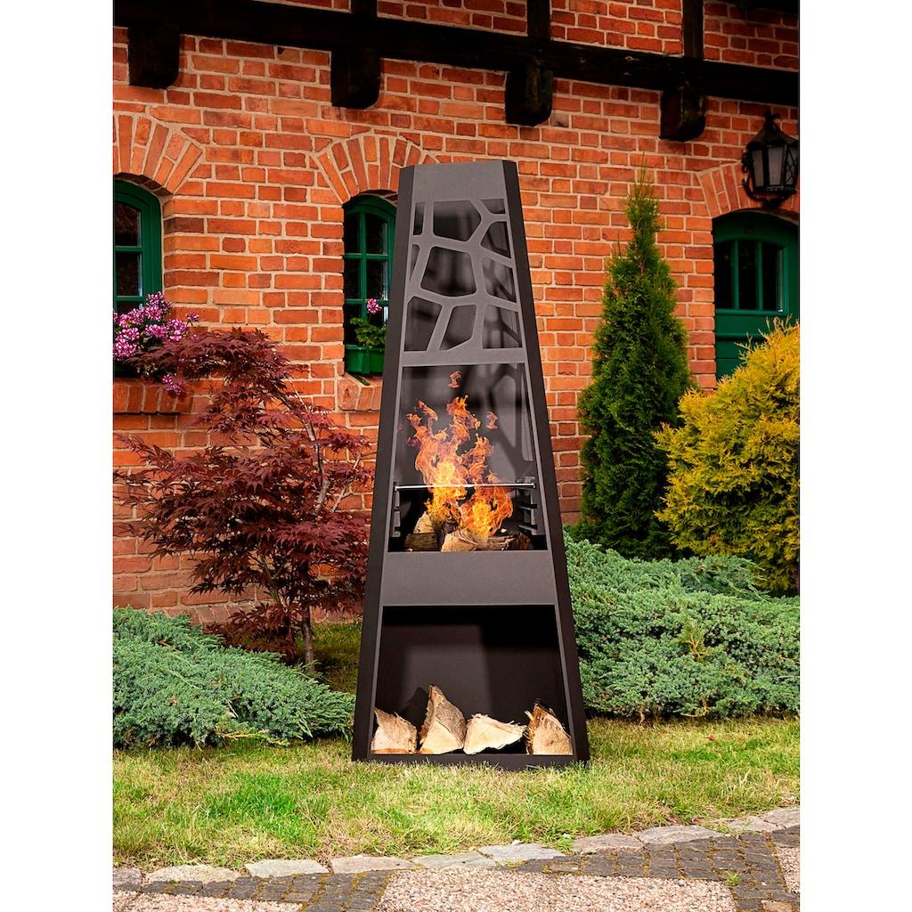 dobar Feuerstelle »XXL«, Gartenkamin, BxLxH: 57,5x38x148 cm, inkl. Grillrost