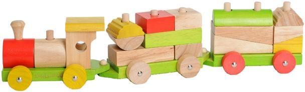 EverEarth Spielzeug-Eisenbahn bunt Kinder Holzspielzeug Spielzeugfahrzeuge