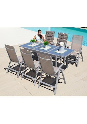 MERXX Gartenmöbelset »Amalfi«, (7 tlg.), 6 Hochlehner, Tisch 90x140-200 cm, Alu/Textil kaufen
