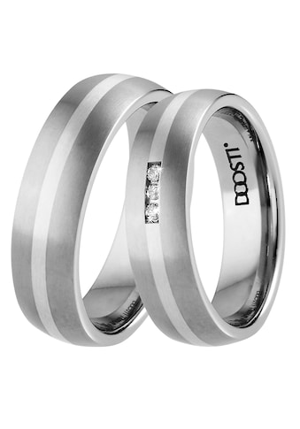 DOOSTI Trauring »TS-01-D, TS-01-H, SILVER LINE«, Made in Germany - wahlweise mit oder ohne Zirkonia kaufen