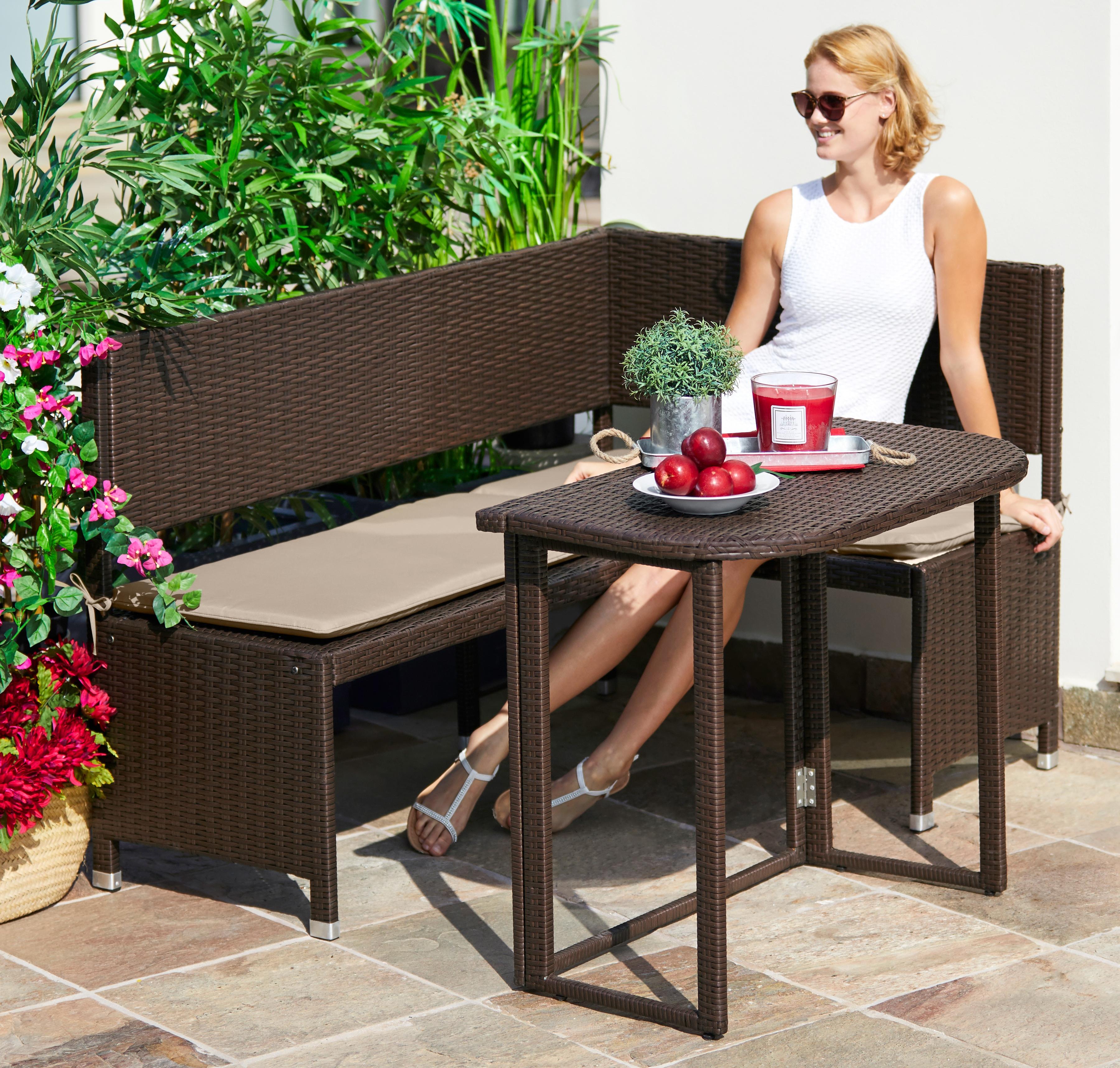 MERXX Gartenmöbelset Rattan 4-tlg Eckbank Tisch90x50 cm Polyrattan