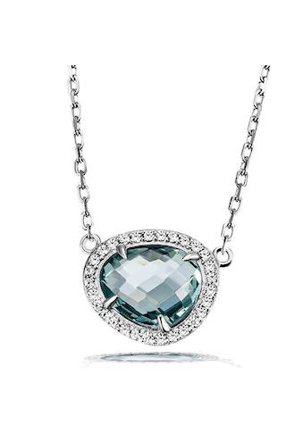 goldmaid Damencollier 925 Silber Glasstein blau mit Zirkonia kaufen
