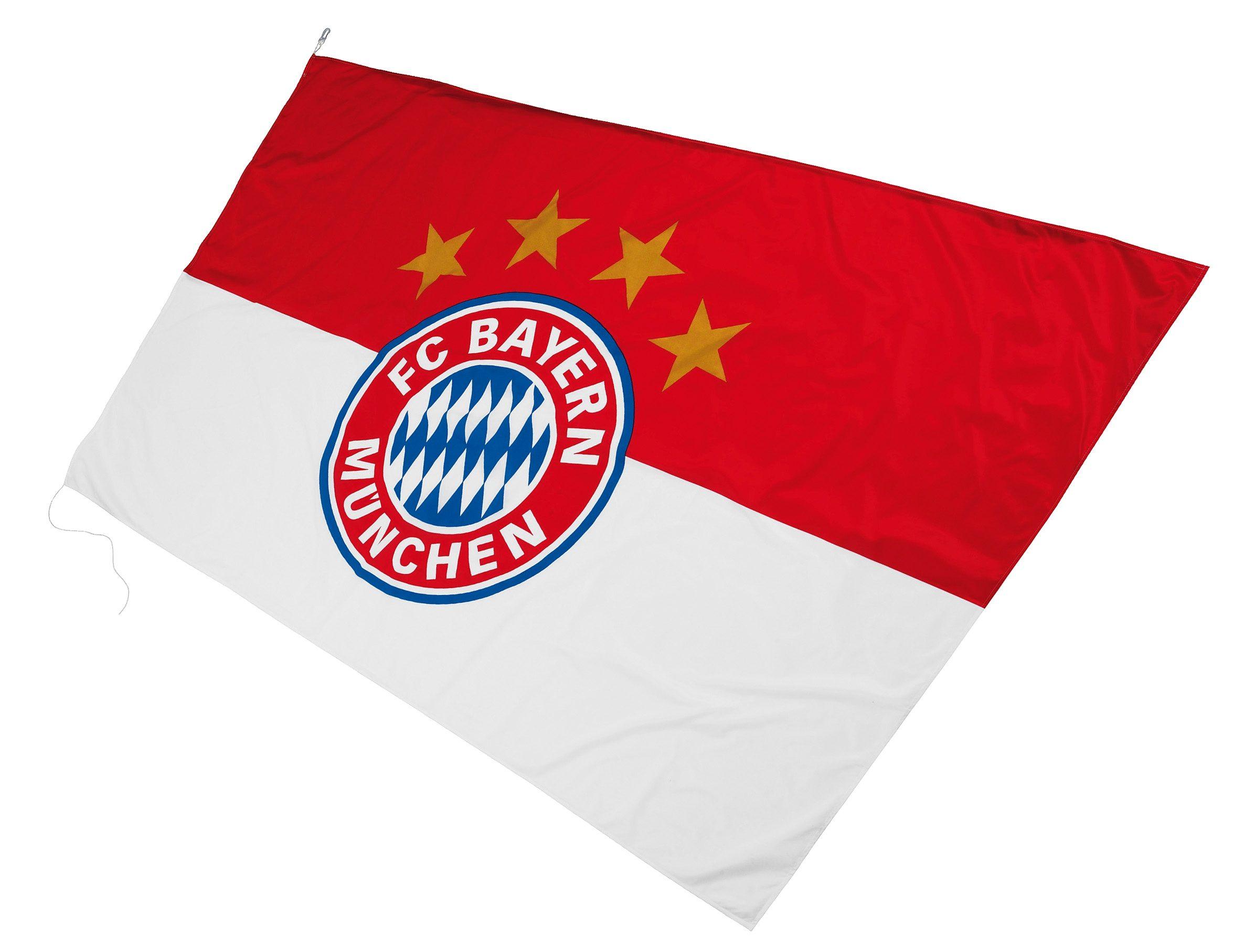 FC Bayern Fahne FC Bayern Hissfahne mit Logo, rot