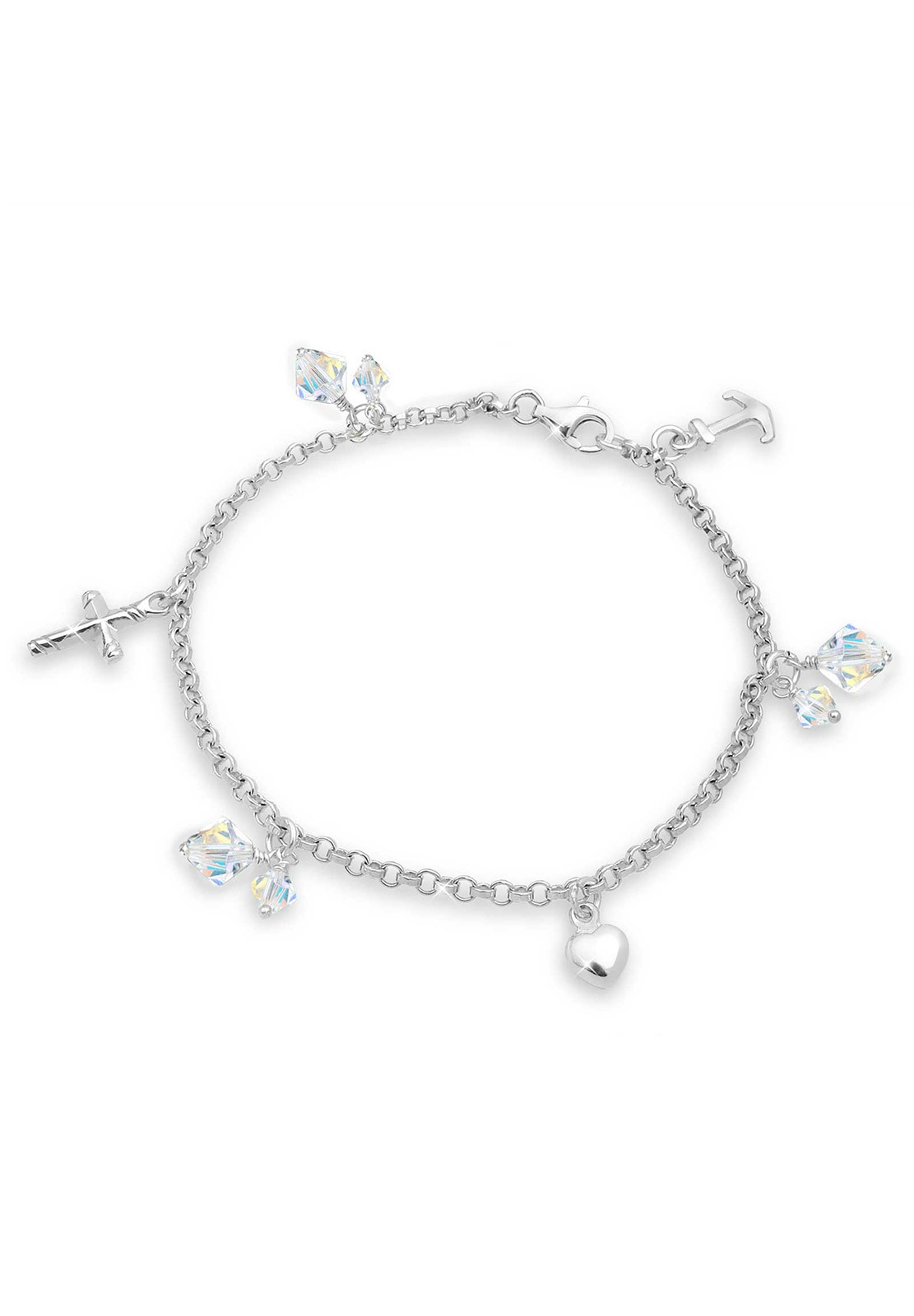 Elli Bettelarmband Kreuz Herz Anker Swarovski Kristalle Silber | Schmuck > Armbänder > Bettelarmbänder | Elli
