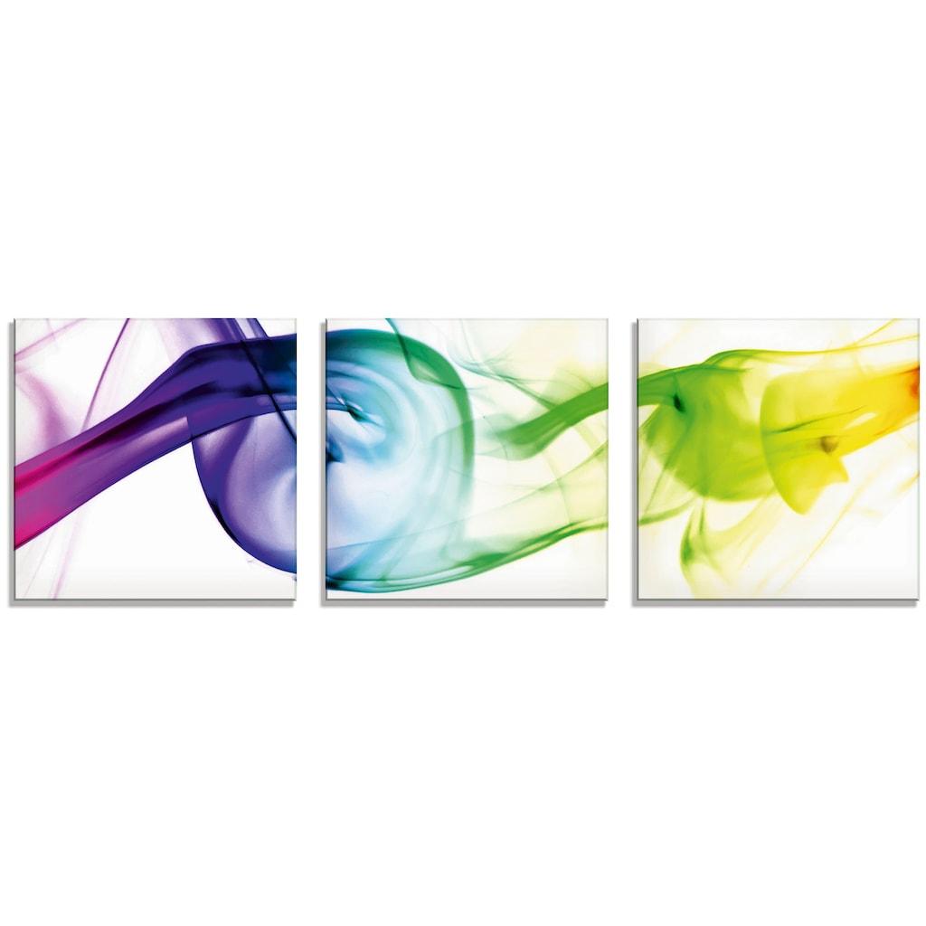 Artland Glasbild »Rauch - Abstrakt«, Gegenstandslos, (3 St.)