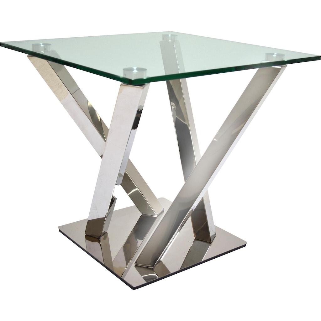 Leonique Beistelltisch »Micado«, mit strebenförmigem Chromgestell und schönder Glasplatte