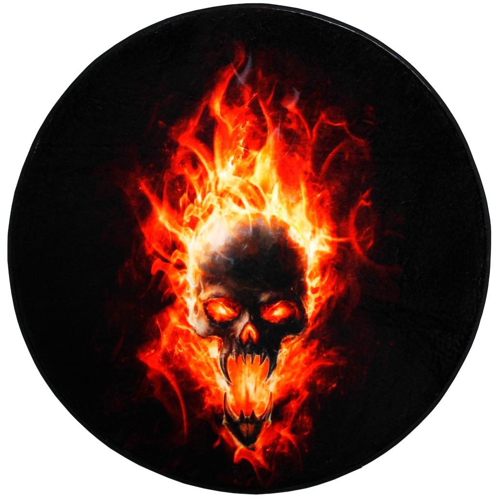 Sanilo Badematte »Totenkopf Flammen«, Höhe 15 mm, schnell trocknend, Memory Schaum