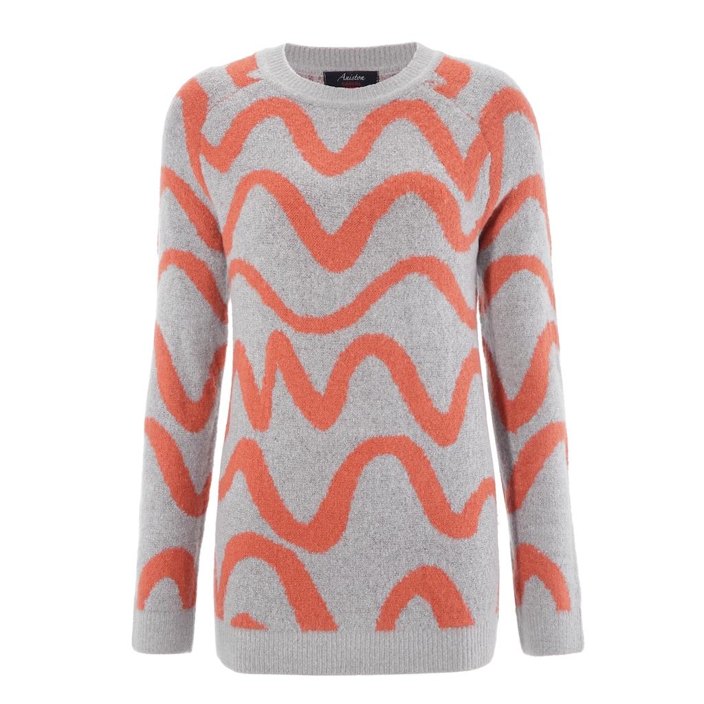 Aniston CASUAL Rundhalspullover, mit trendigem Wellen-Muster
