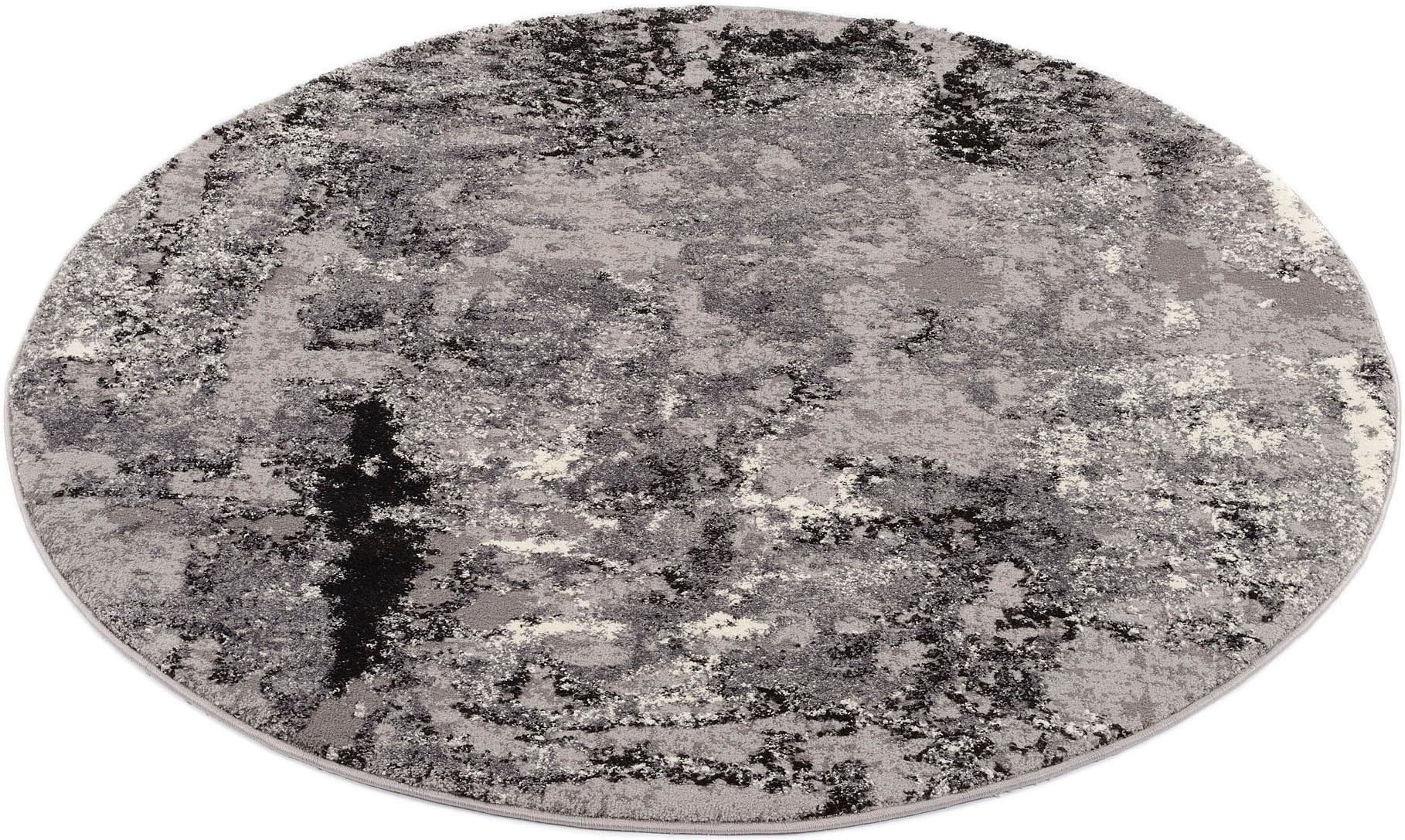 OCI DIE TEPPICHMARKE Teppich JUWEL LIRAY, rund, 20 mm Höhe, Wohnzimmer grau Esszimmerteppiche Teppiche nach Räumen