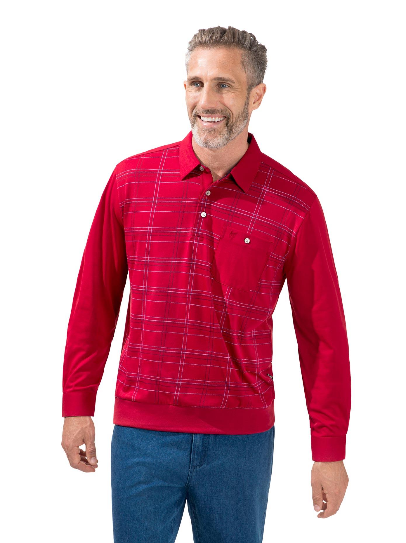 Hajo Langarm-Poloshirt rot Herren Langarm Shirts Poloshirts