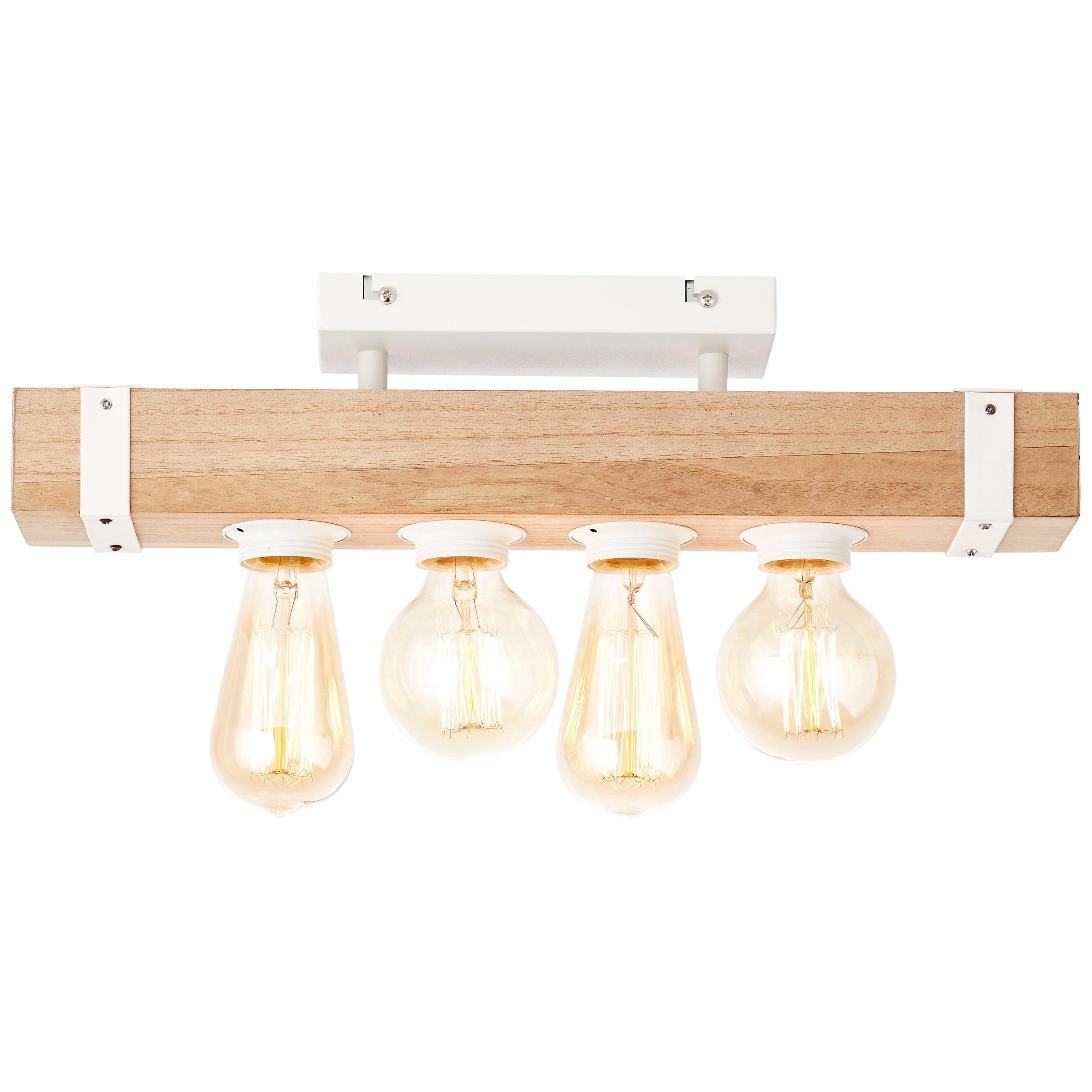 Brilliant Leuchten White Wood Deckenleuchte 4flg beton/holz hellweiß