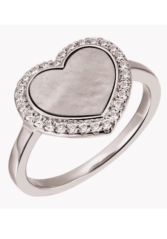 Firetti Silberring »Herz, rhodiniert«, mit Perlmutt und Zirkonia kaufen