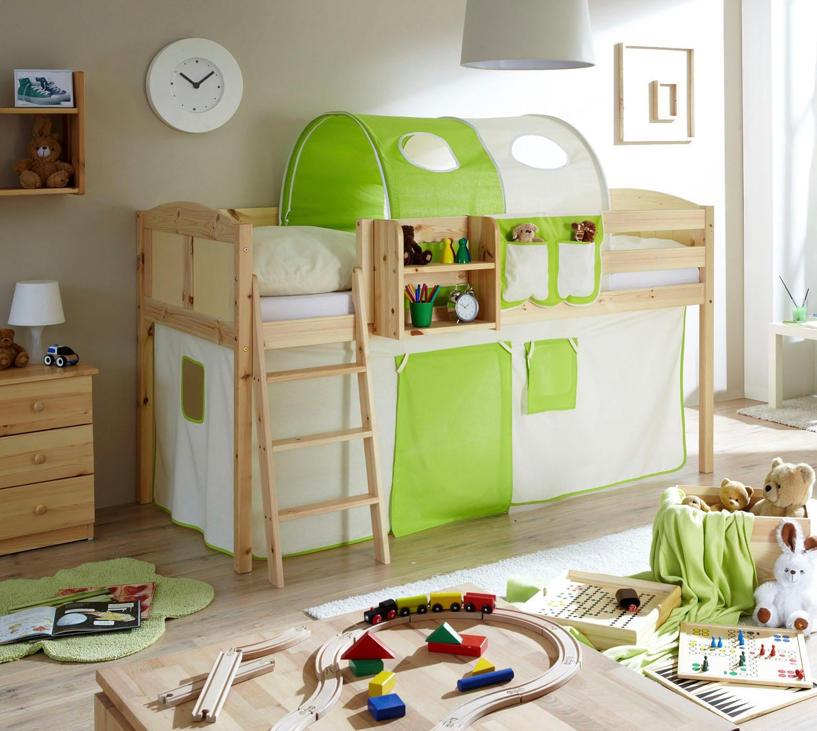 Ticaa Hochbett Eric grün Kinder Kinderbetten Kindermöbel