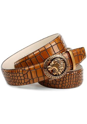 """Anthoni Crown Ledergürtel, mit Metallschnalle """"Löwenkopf"""" und auffälliger Kroko-Prägung kaufen"""