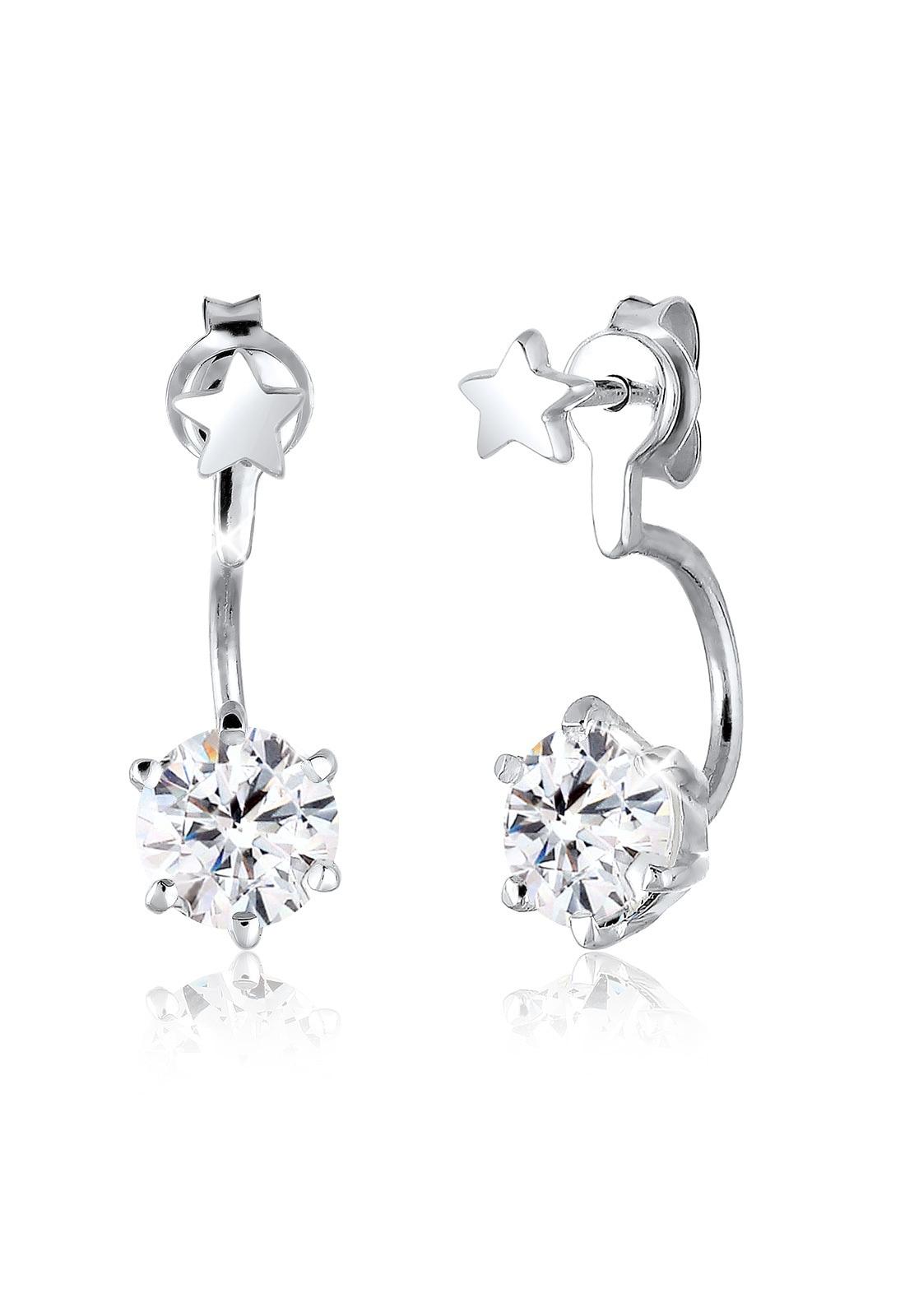 Elli Paar Ohrstecker  Front-Back Sterne Swarovski® Kristalle 925 Silber  Preisvergleich