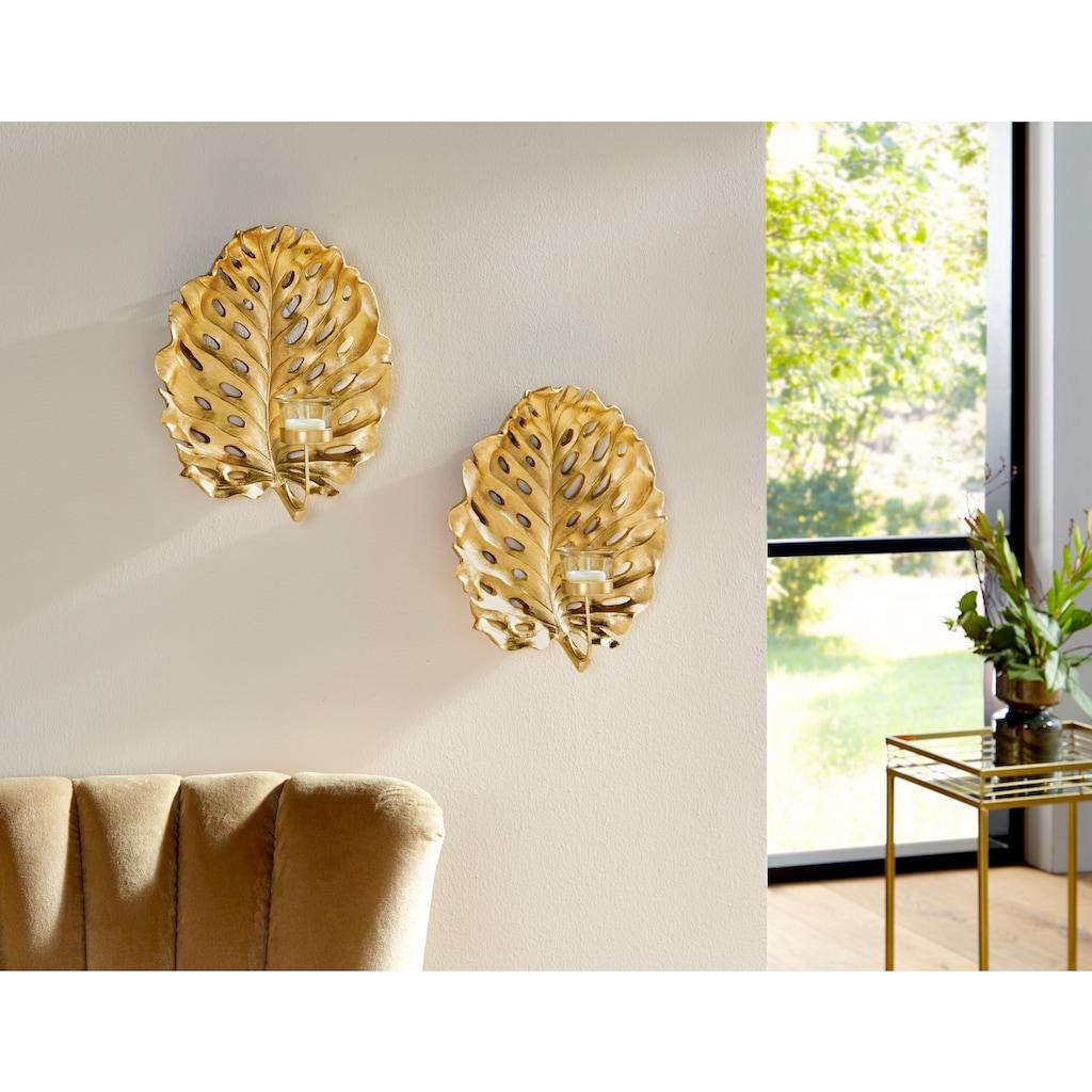 Leonique Wandkerzenhalter »Leaf«, Kerzen-Wandleuchter, Kerzenhalter, Kerzenleuchter hängend, Wanddeko, Blattform, mit Teelichthalter