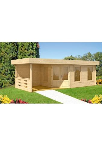 WOLFF FINNHAUS Set: Gartenhaus »Maja 40 - B/1«, BxT: 853x349 cm, inkl. Fußboden und Anbaudach mit Rückwand kaufen