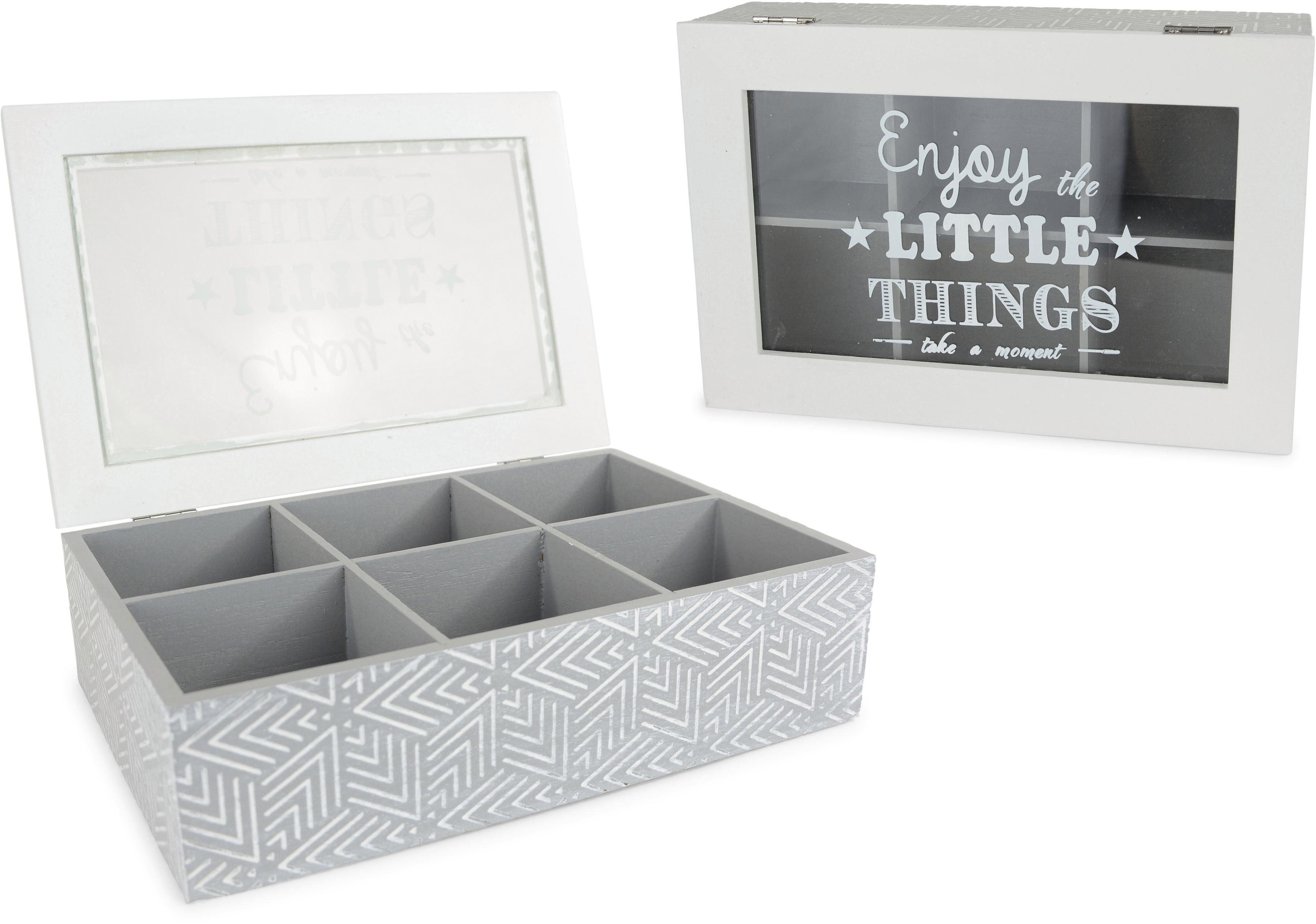 Aufbewahrungsbox, mit 6 Fächern und Schriftzug grau Aufbewahrung Ordnung SOFORT LIEFEERBAR Diele Flur Aufbewahrungsboxen