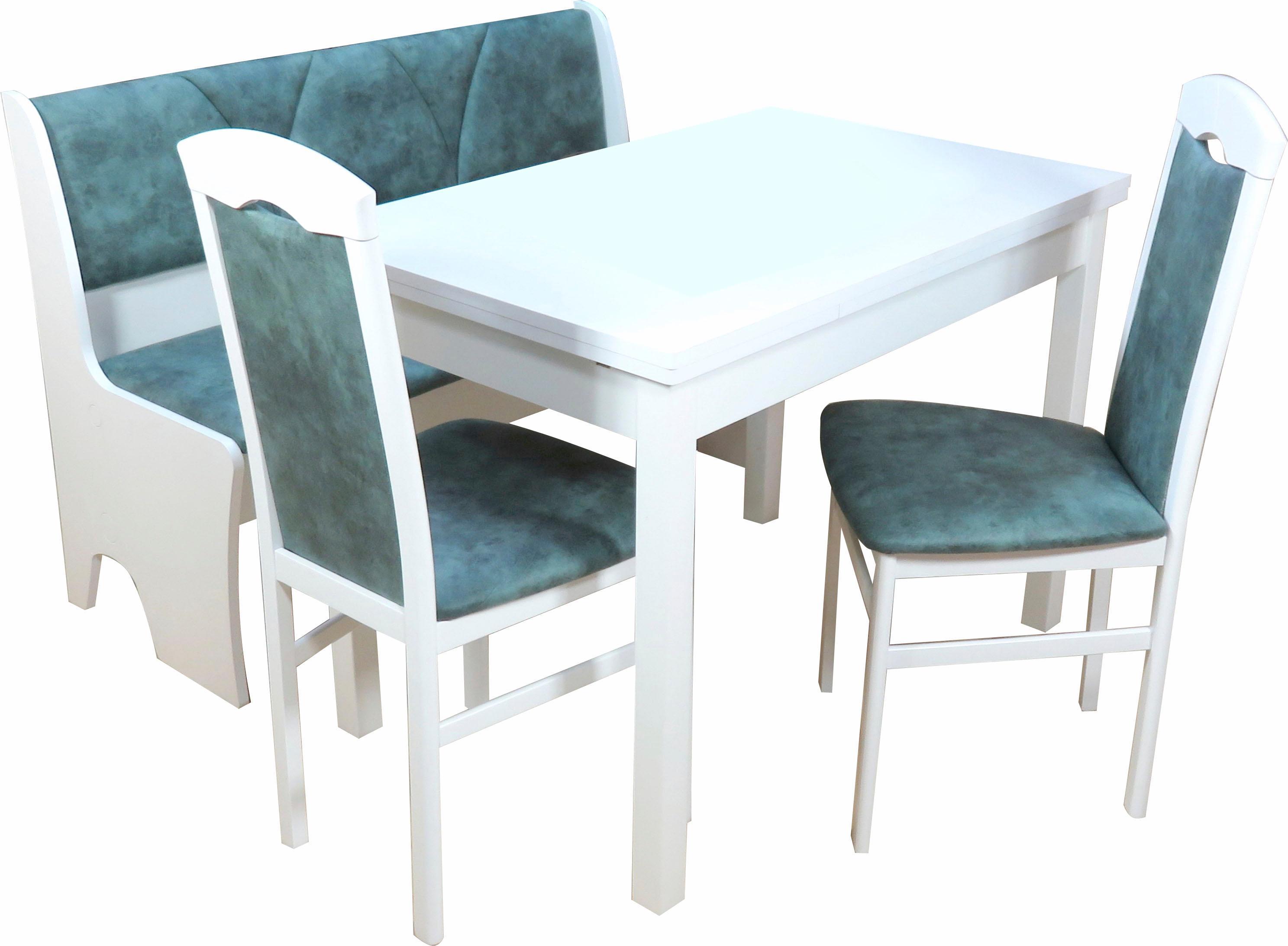 Sitzgruppe mit Truhenbank (4-tlg) | Küche und Esszimmer > Sitzbänke > Truhenbänke | Weiß | Buchenholz - Stoff - Buche - Massivholz - Melamin - Abs