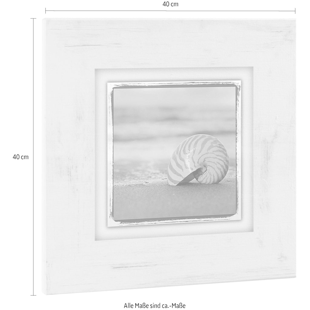 Home affaire Holzbild »Schneckenhaus auf Sand«, 40/40 cm