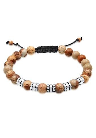 Kuzzoi Armband »Herren Achat Perlen Bead Jasper Look 925 Silber« kaufen