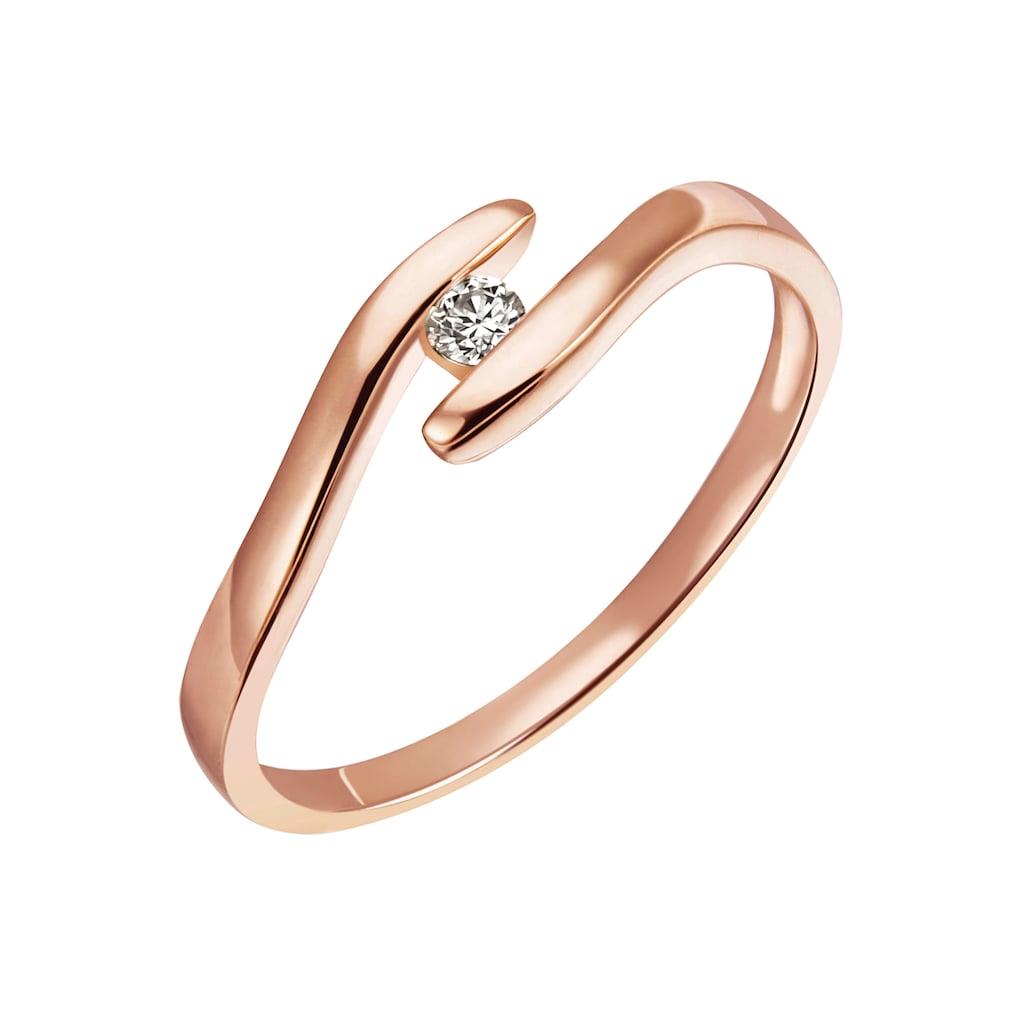 Firetti Diamantring »Solitär, ca. 1,76 mm breit, Spannfasung, Glanz, massiv«, mit Brillant