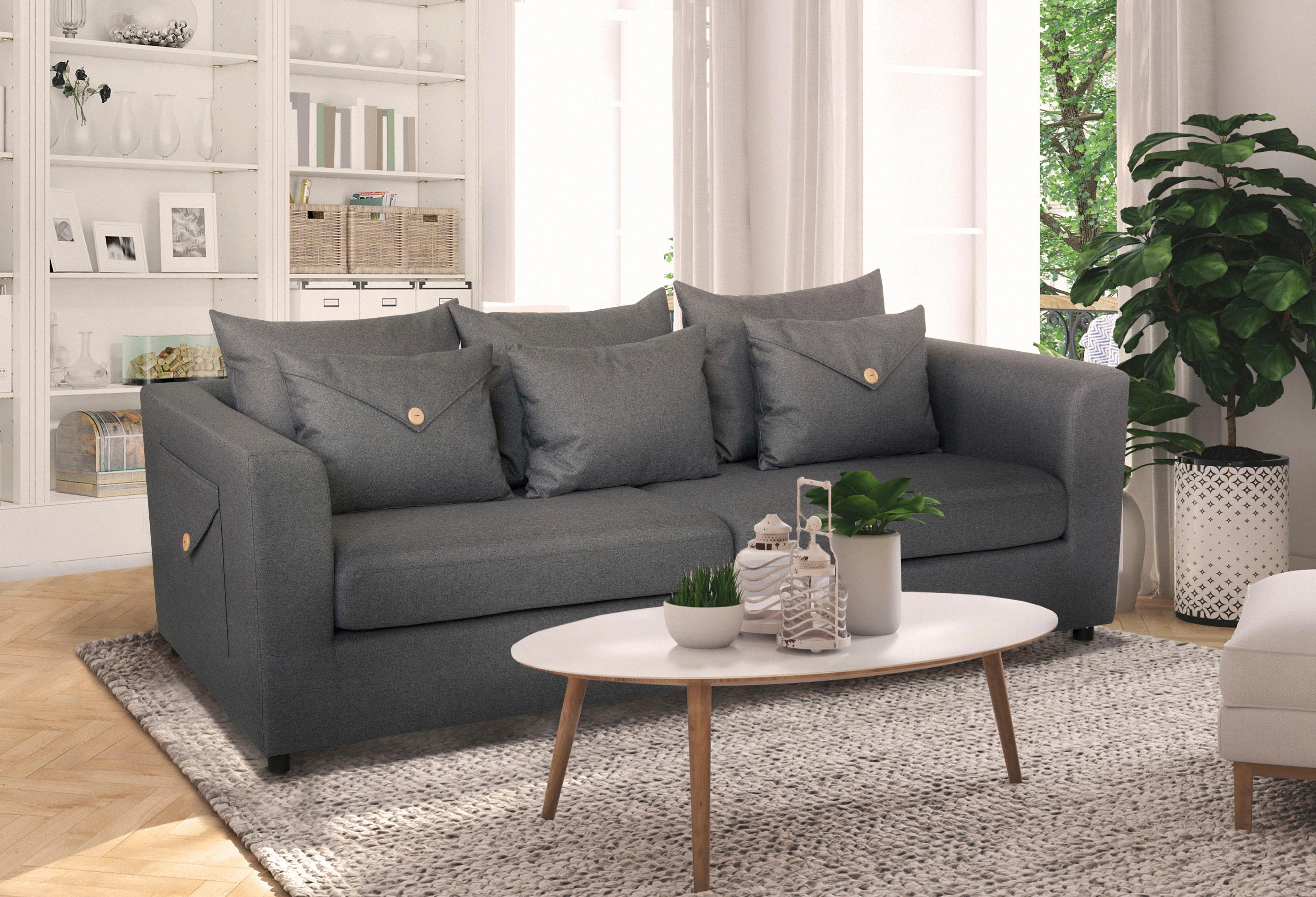 Home affaire Sofa Brighton mit besonderem Stil durch Knopfdesign an Kissen und Armlehne