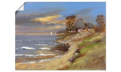 Artland Wandbild »Weiß strohgedecktes Haus am Meer«, Gewässer, (1 St.), in vielen... kaufen