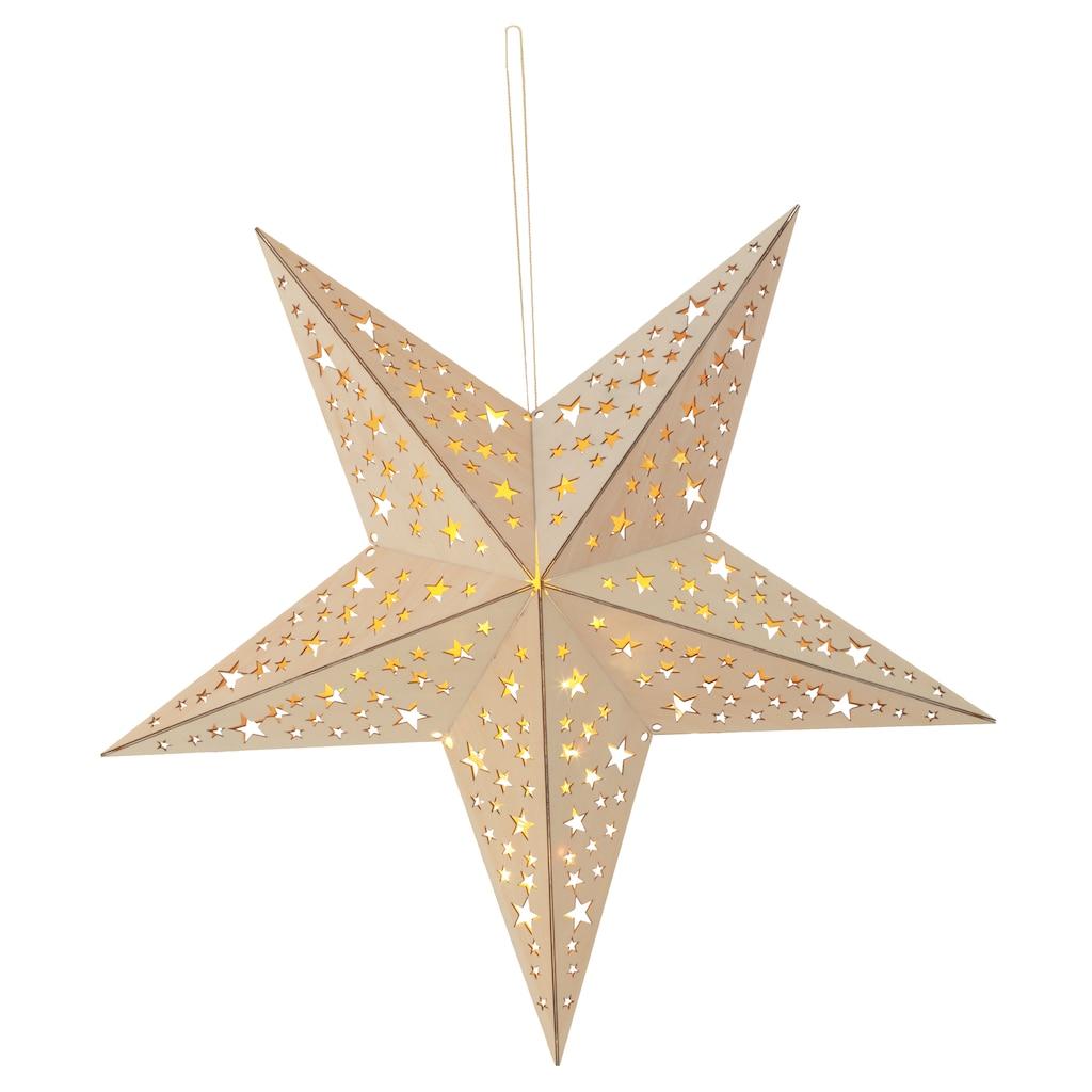 BONETTI LED Stern, Warmweiß, aus Holz, mit 10-teiliger Lichterkette