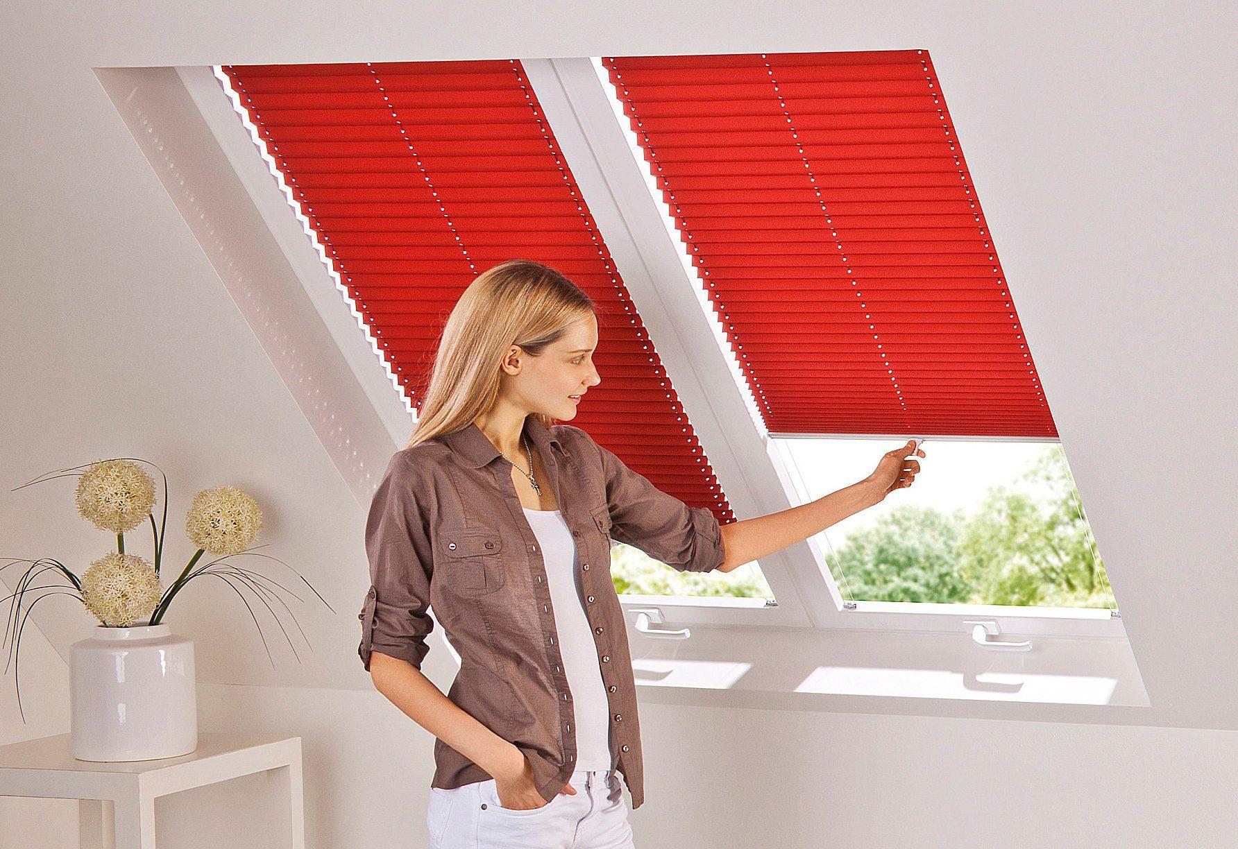 Dachfensterplissee nach Maß sunlines verdunkelnd mit Bohren verspannt Wohnen/Wohntextilien/Rollos & Jalousien/Plissees/Dachfensterplissees