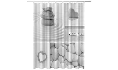 ADOB Duschvorhang 180 x 200 cm, Stein -  und Herzmotiv kaufen