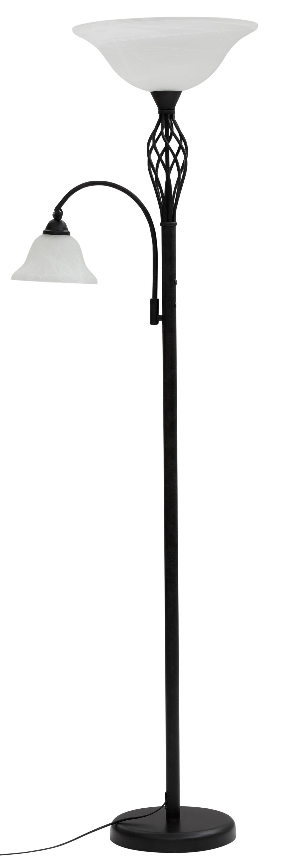 Home affaire Stehlampe Rudi, E27, 1 St., Stehleuchte / Deckenfluter aus massivem Metall im Landhaus-Stil, Leselicht getrennt schaltbar
