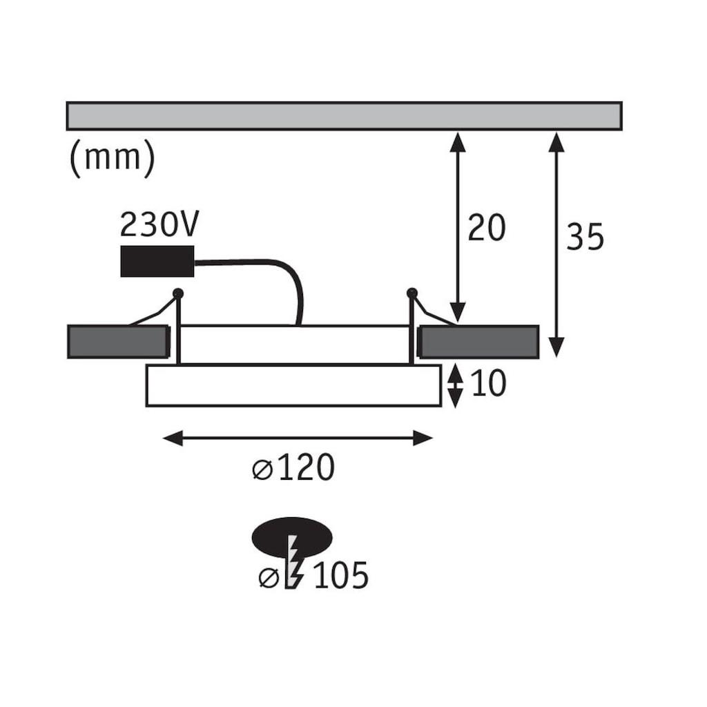 Paulmann LED Einbaustrahler »Panel Areo IP23 rund 120mm 8W 3.000K Nickel matt«, Warmweiß