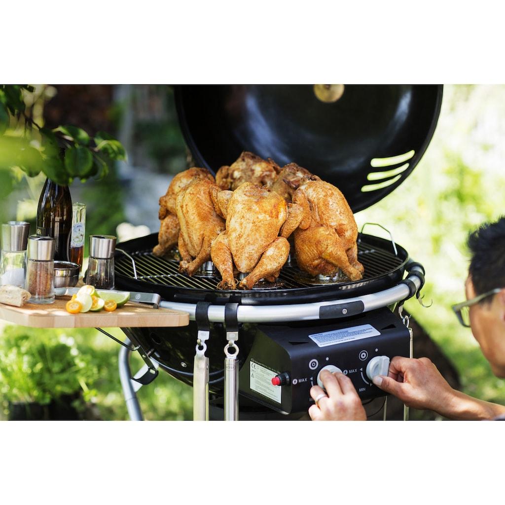 RÖSLE Hähnchenbräter, Edelstahl, Einsatz für Backofen und Grill zur Zubereitung von Hähnchen, mit 250 ml Marinade-Behälter, spülmaschinengeeignet