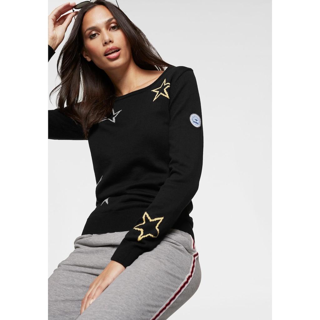 KangaROOS Rundhalspullover, mit Sternen-Muster