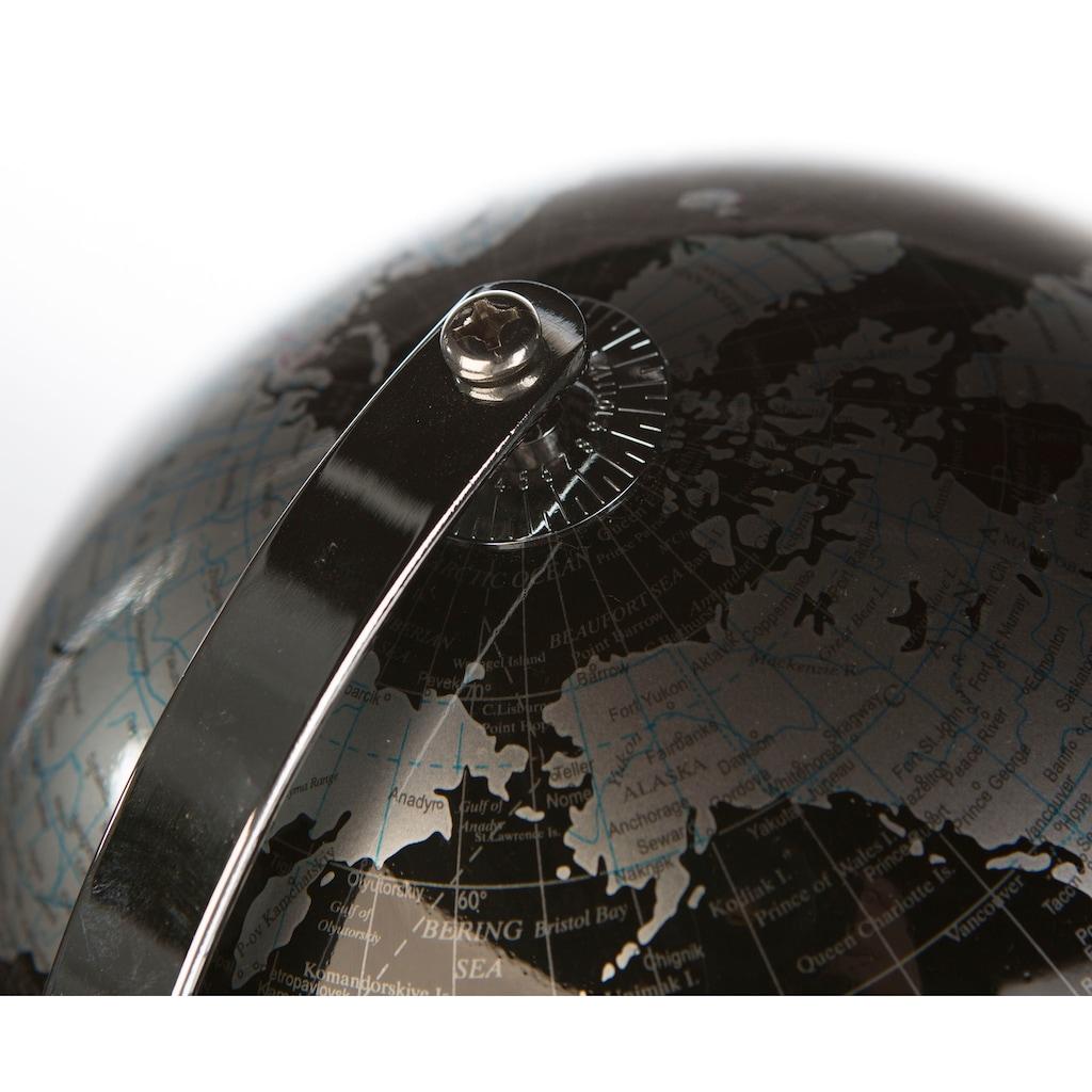 Casablanca by Gilde Dekoobjekt »Globus World, schwarz/silberfarben«, in 2 Größen erhältlich (Ø 20 cm oder Ø 25 cm), Wohnzimmer