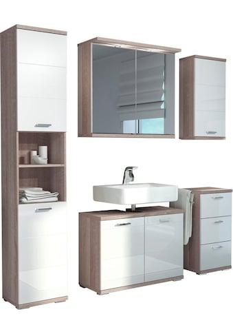 Homexperts Badmöbel-Set »Nusa«, (5 tlg.), aus Spiegelschrank inkl. LED-Beleuchtung, Hochschrank, Waschbeckenunterschrank, Hängeschrank und Unterschrank, Badezimmerschrank mit Metallgriffen und MDF-Fronten in Hochglanz-Optik kaufen