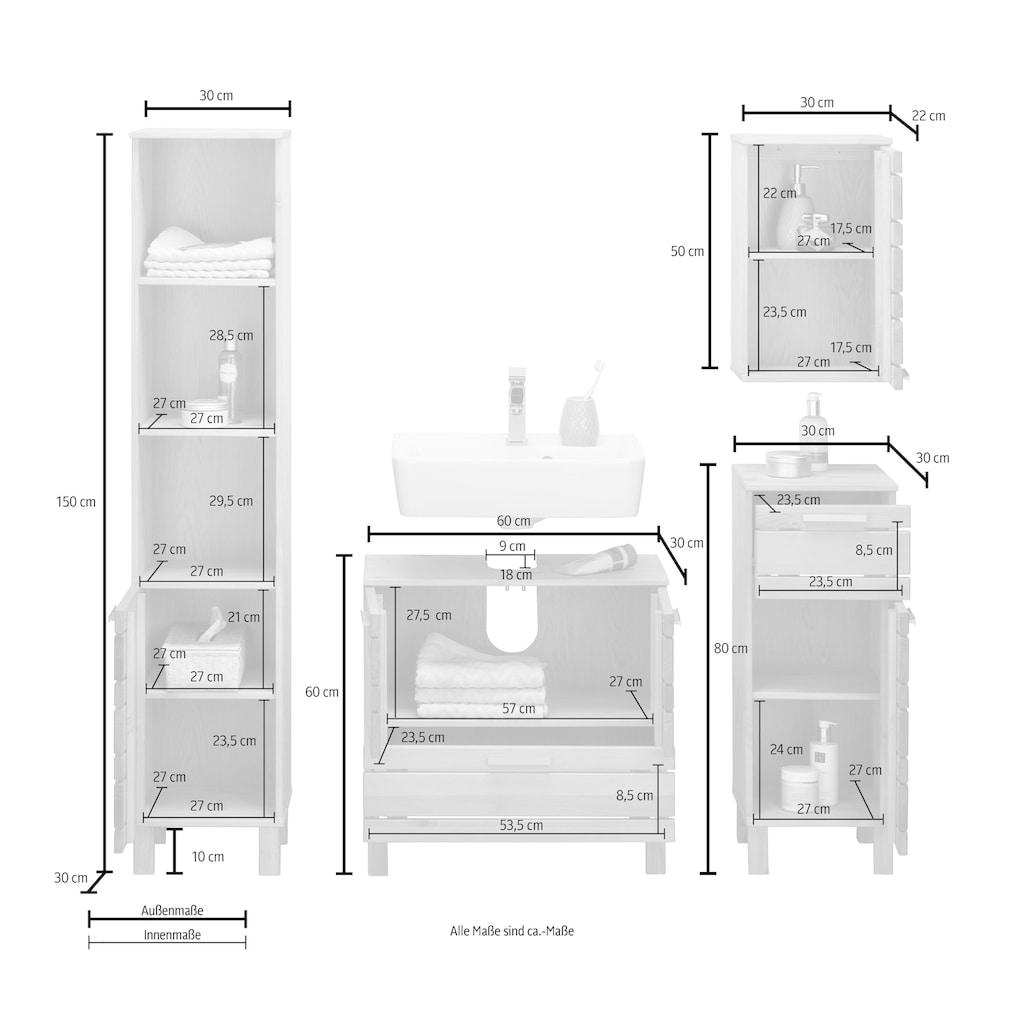 Home affaire Badmöbel-Set »Josie«, (Set, 4 tlg.), aus Massivholz, verstellbare Einlegeböden, Metallgriffe