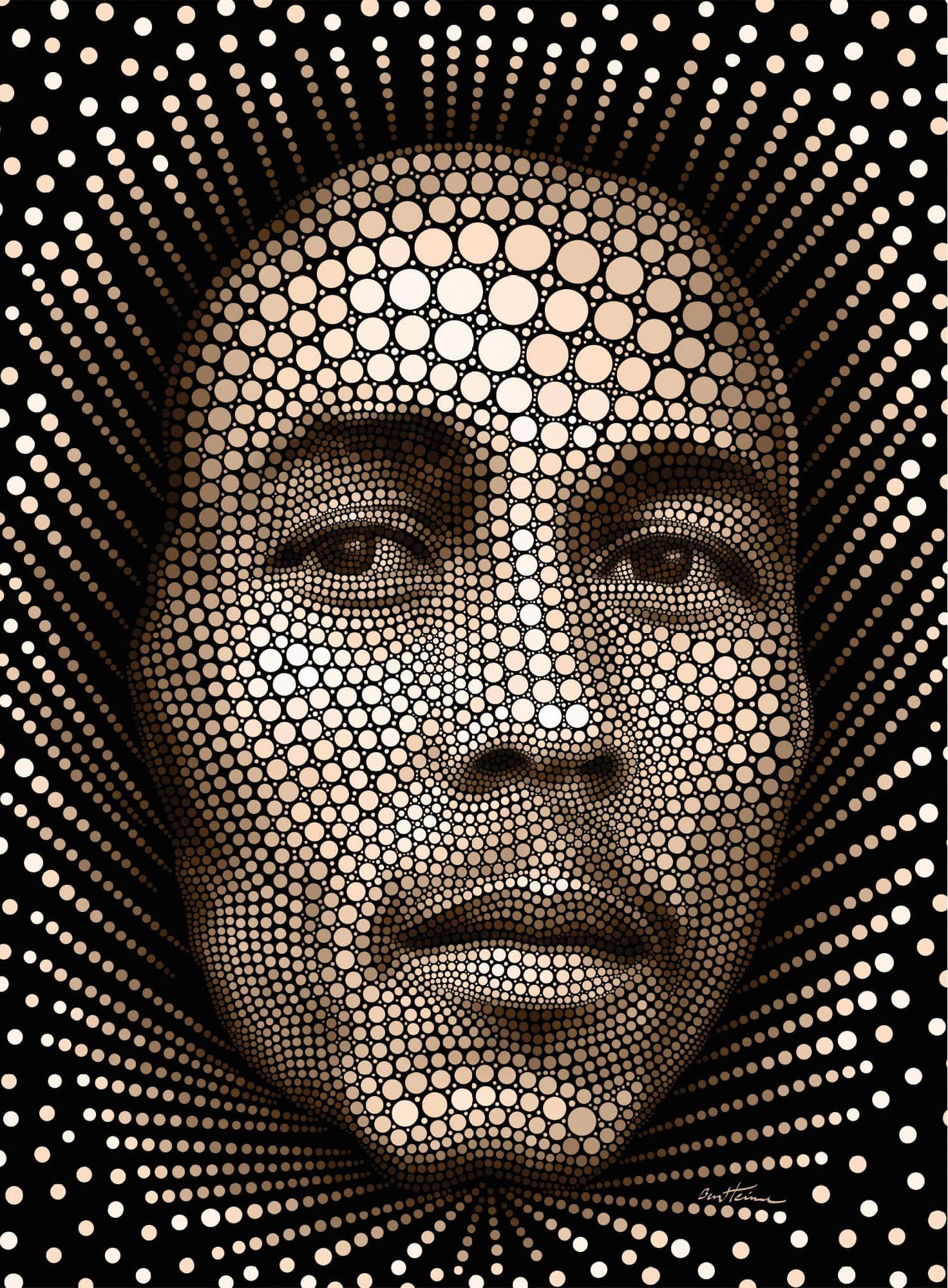 Vliestapete Ben Heine Circlism: Bob Marley schwarz Fototapeten Tapeten Bauen Renovieren