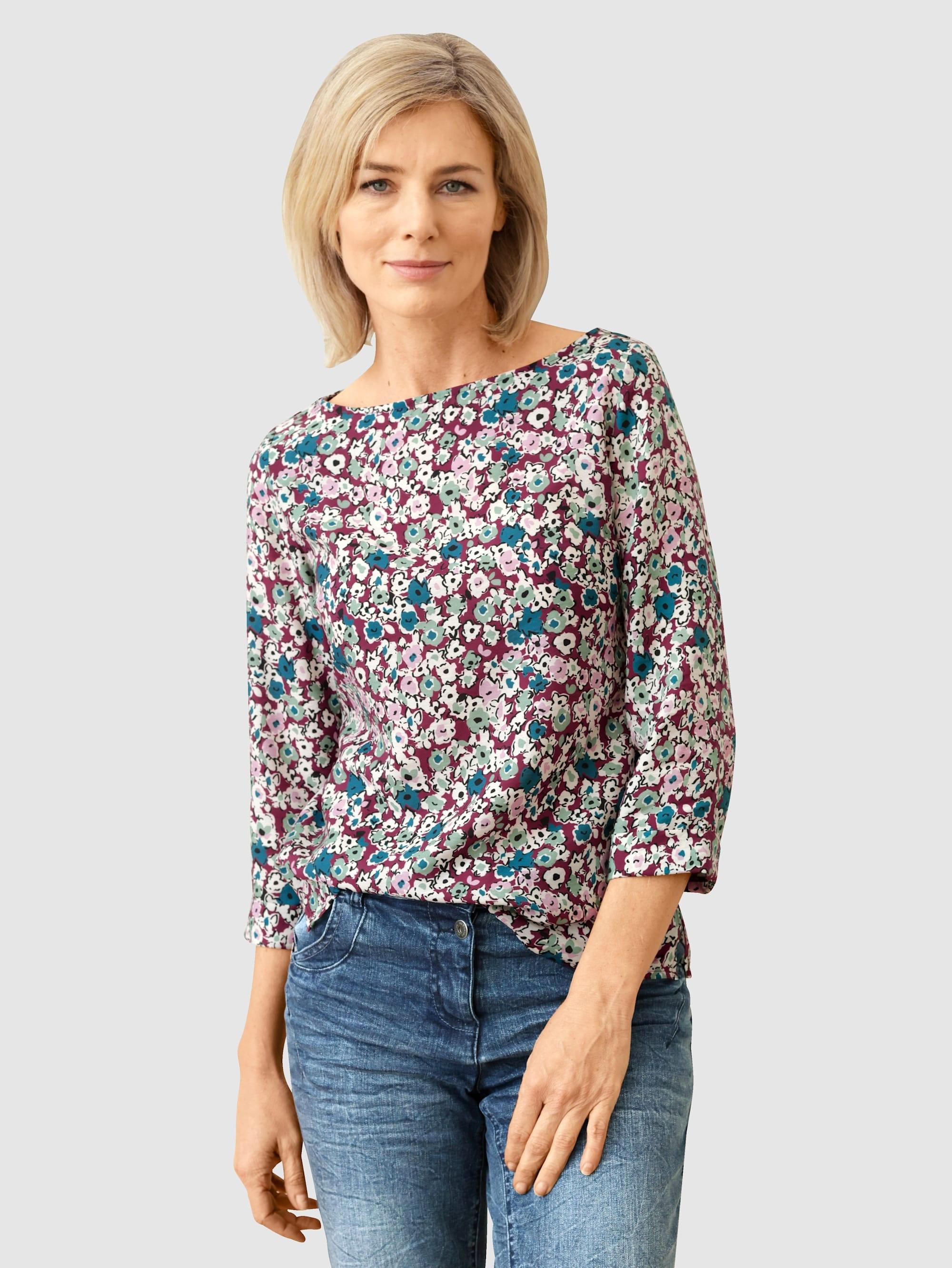 Dress In Schlupfbluse, mit schönem Blumendruck lila Damen Schlupfbluse Schlupfblusen Blusen Tuniken