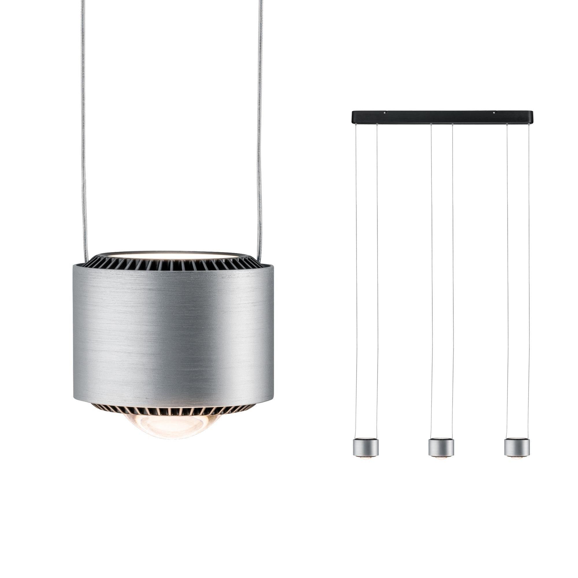 Paulmann LED Pendelleuchte Aldan 3x9W Schwarz/Alu gebürstet dimmbar, 1 St., Warmweiß