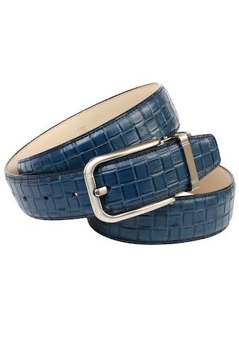 Anthoni Crown Ledergürtel, Hochwertige Flechtprägung in trendigem Blauton kaufen