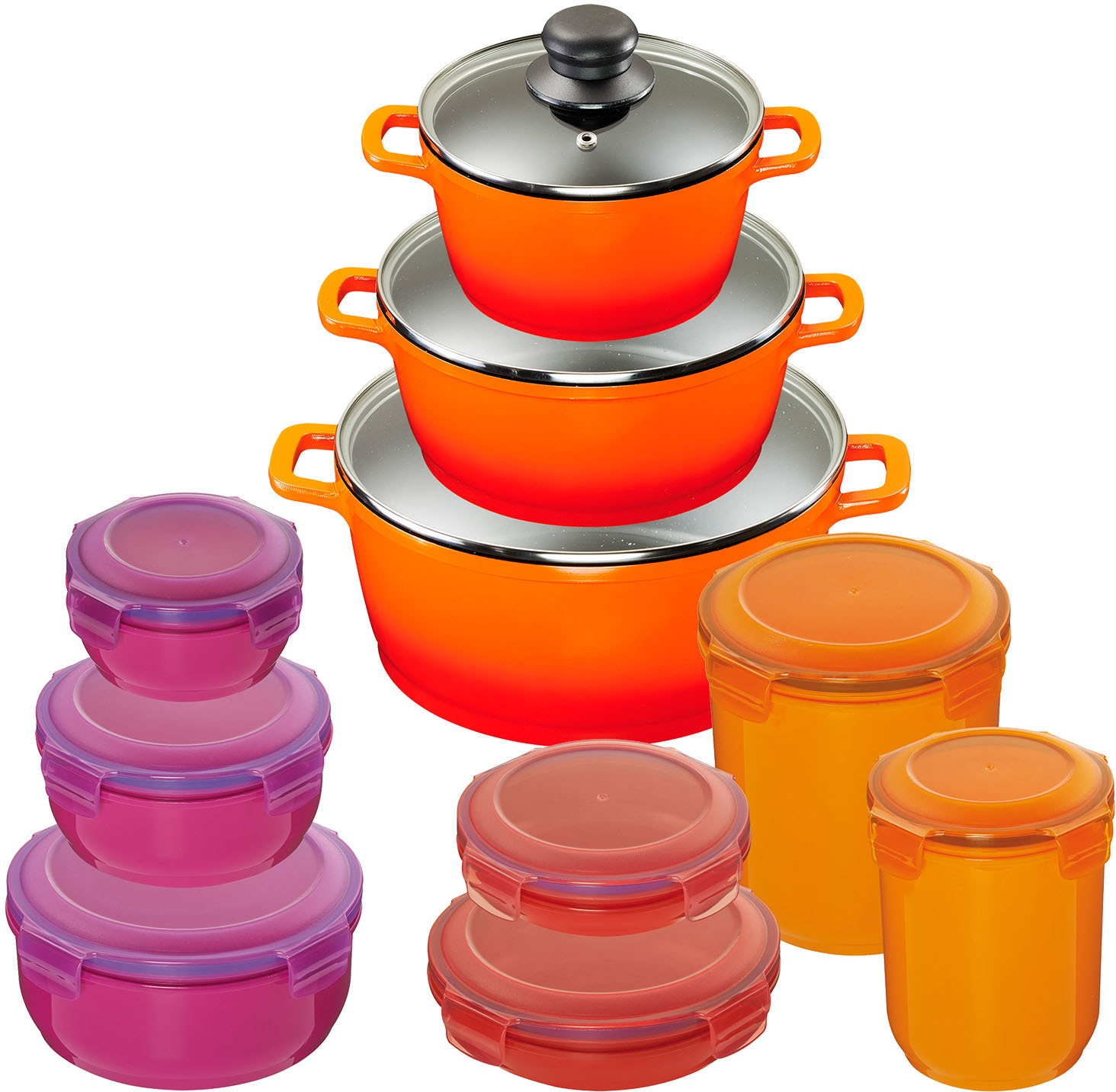 KING Topf-Set Shine Orange, Aluminiumguss, (Set, 10 tlg., 3 Töpfe, Deckel, 7 Dosen), Induktion orange Topfsets Töpfe Haushaltswaren
