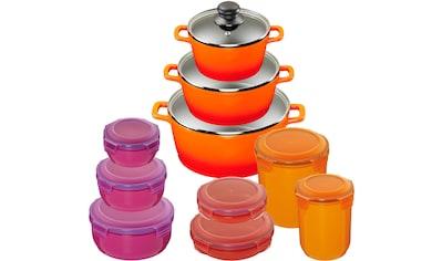 KING Topf-Set »Shine Orange«, Aluminiumguss, (Set, 10 tlg., 3 Töpfe, 3 Deckel, 7 Dosen), Induktion kaufen