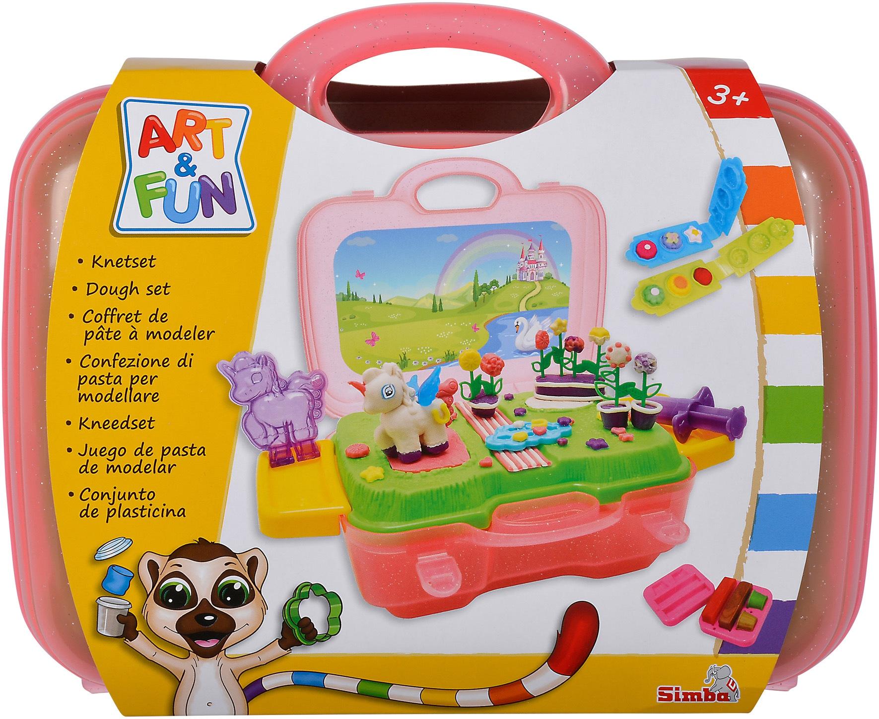 SIMBA Knete Art & Fun Knetset Einhorn, im Koffer bunt Kinder Kneten Modellieren Basteln, Malen, Kosmetik Schmuck