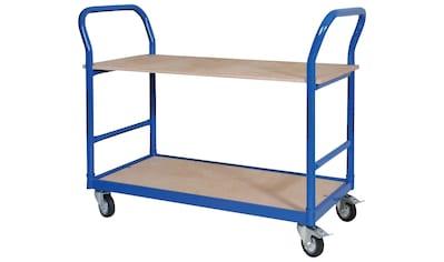 Tischwagen, LxBxH 1140x500x890 mm, 4 Lenkrollen, 2 mit Feststellbremse, blau RAL 5010 kaufen