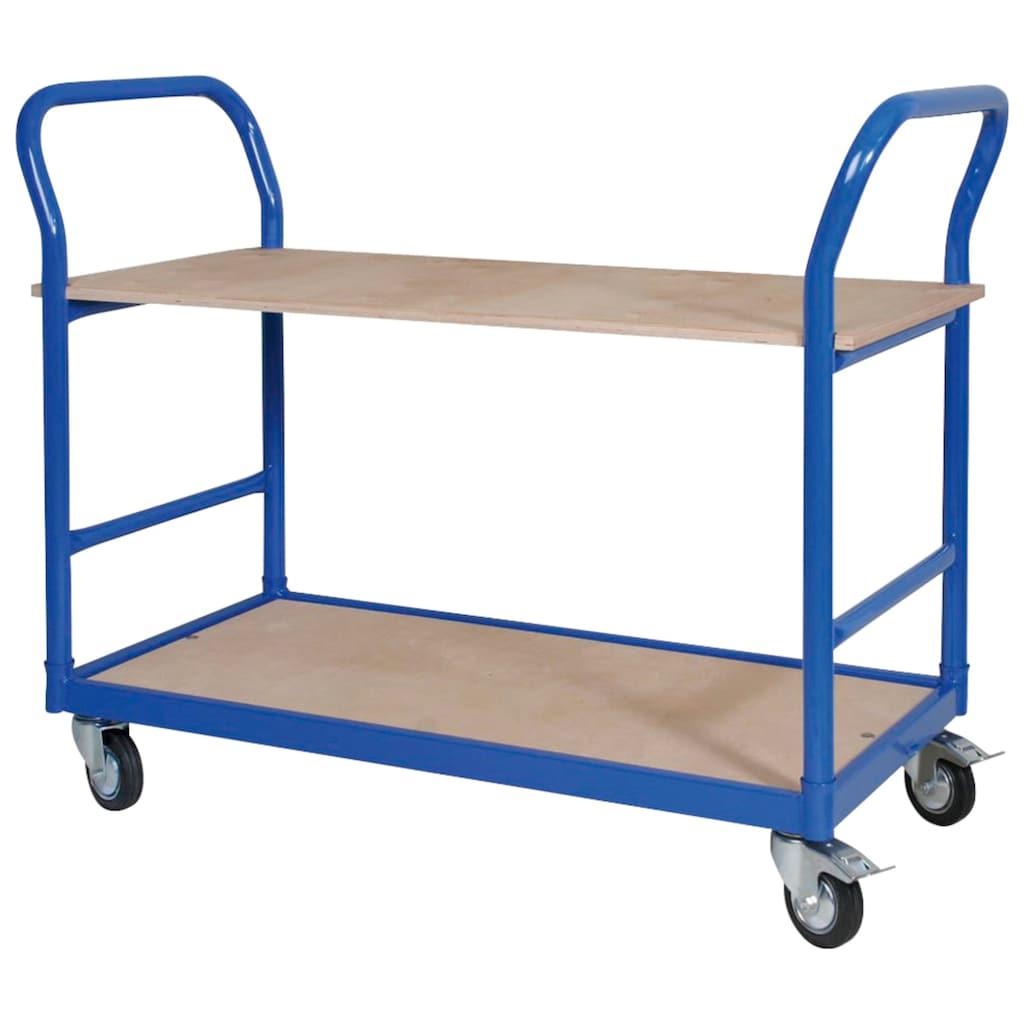 Tischwagen, LxBxH 1140x500x890 mm, 4 Lenkrollen, 2 mit Feststellbremse, blau RAL 5010