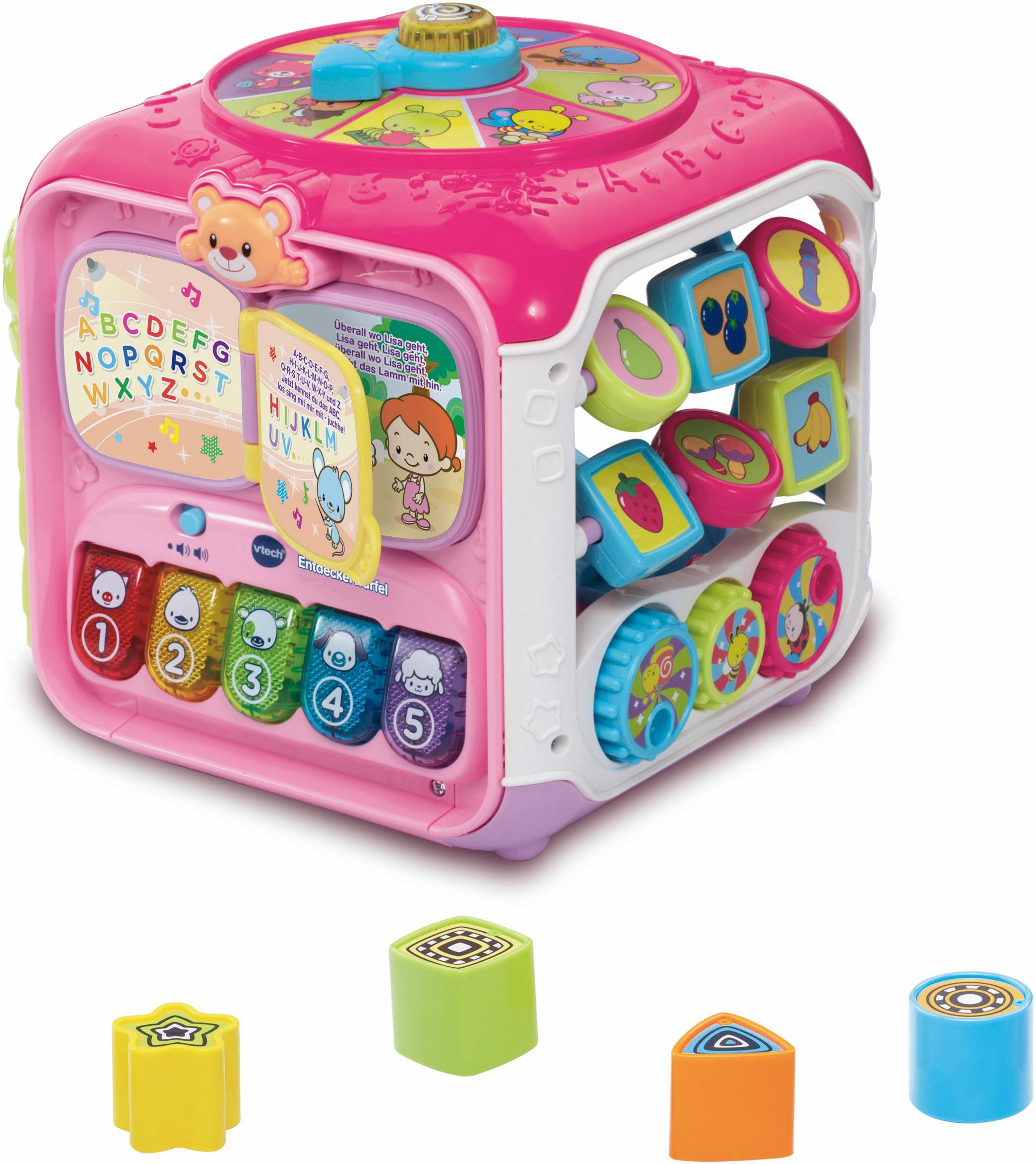 Vtech Lernspielzeug, Spielwürfel, Entdeckerwürfel, pink bunt Kinder Ab 12 Monaten Altersempfehlung Lernspielzeug