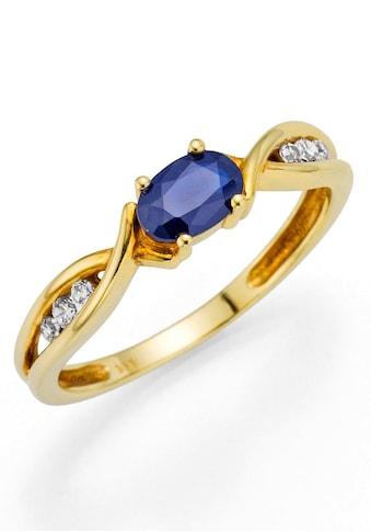 Firetti Fingerring »Oberfläche glänzend, schimmernder Edelstein«, mit Zirkonia und Safir kaufen